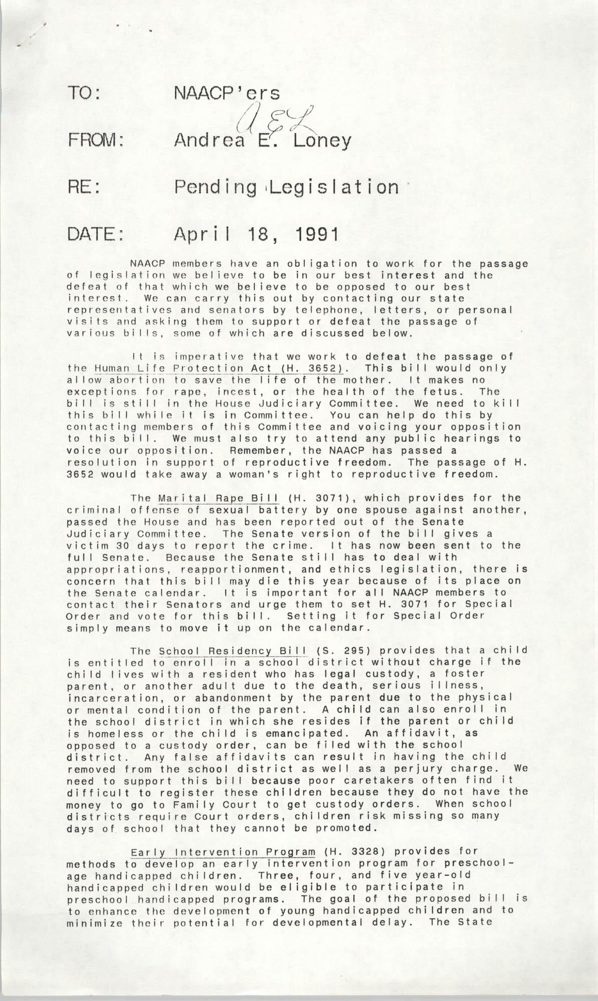 NAACP Memorandum, April 18, 1991