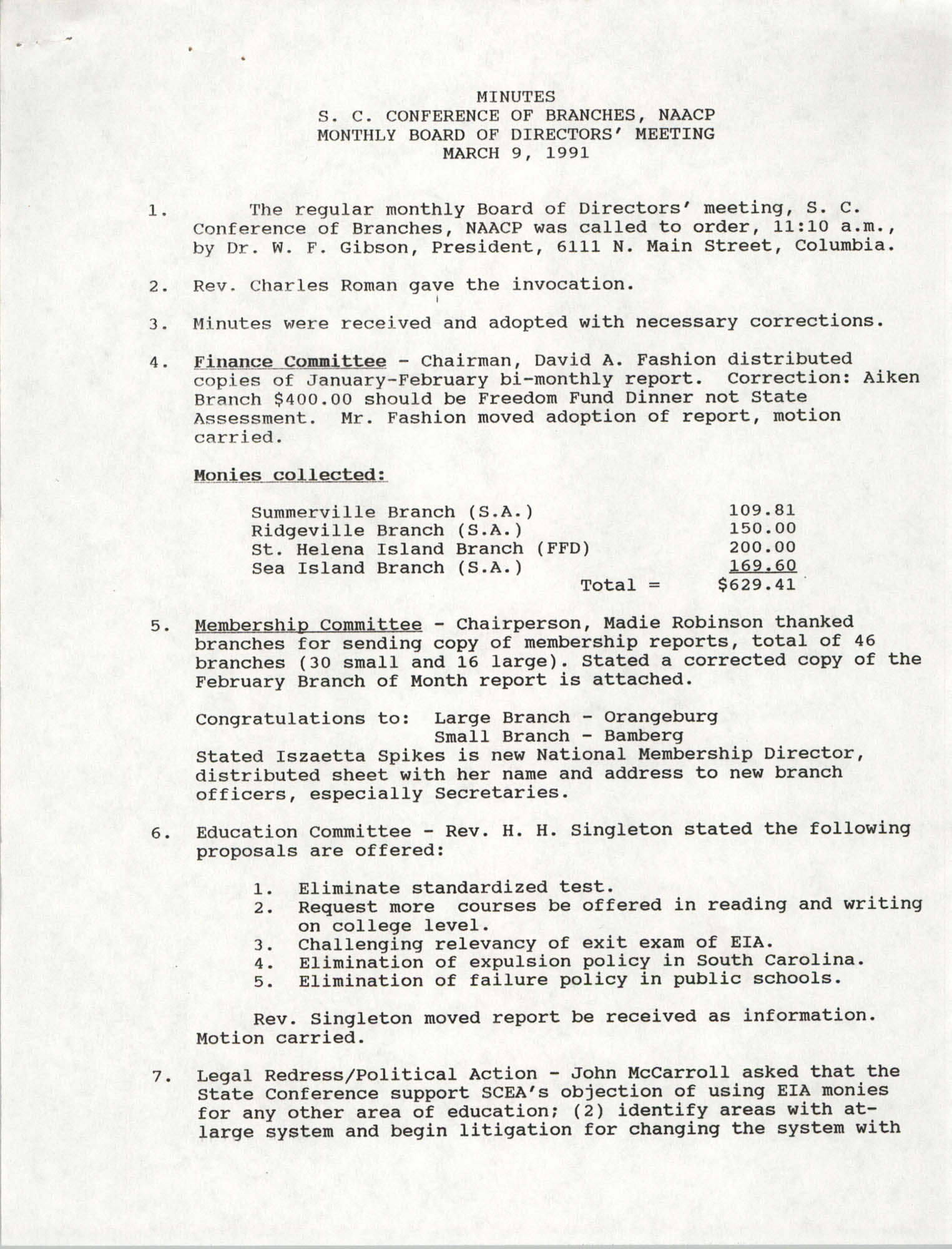 Minutes, South Carolina Conference of Branches of the NAACP, March 9, 1991