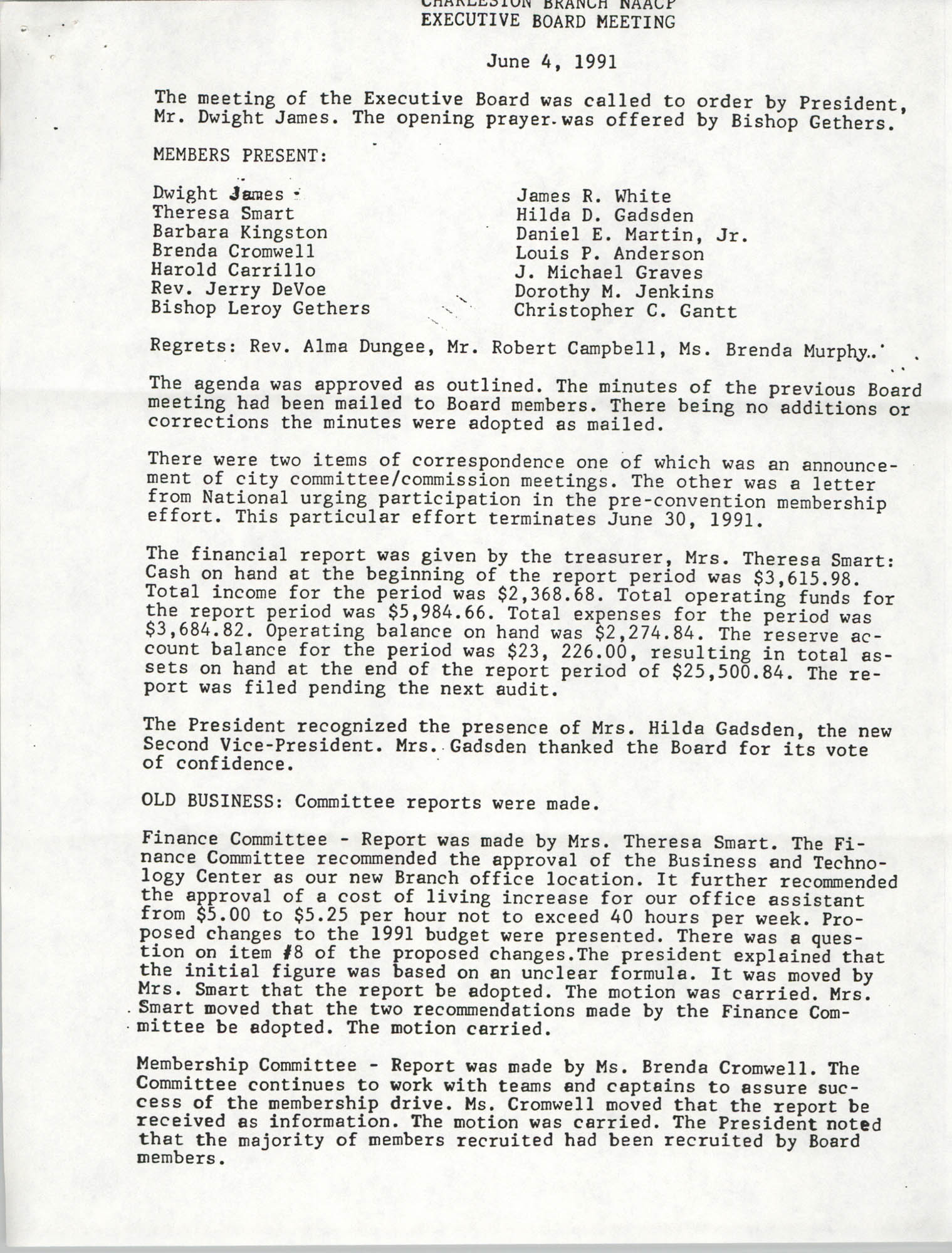 Minutes, Charleston Branch of the NAACP Executive Board Meeting, June 4, 1991