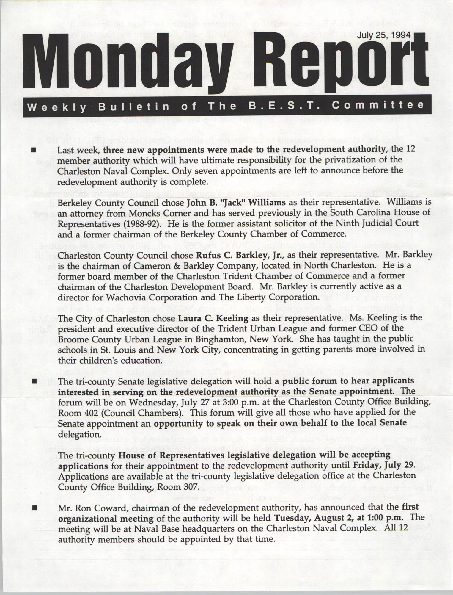Monday Report, Weekly Bulletin of The B.E.S.T. Committee, July 25, 1994
