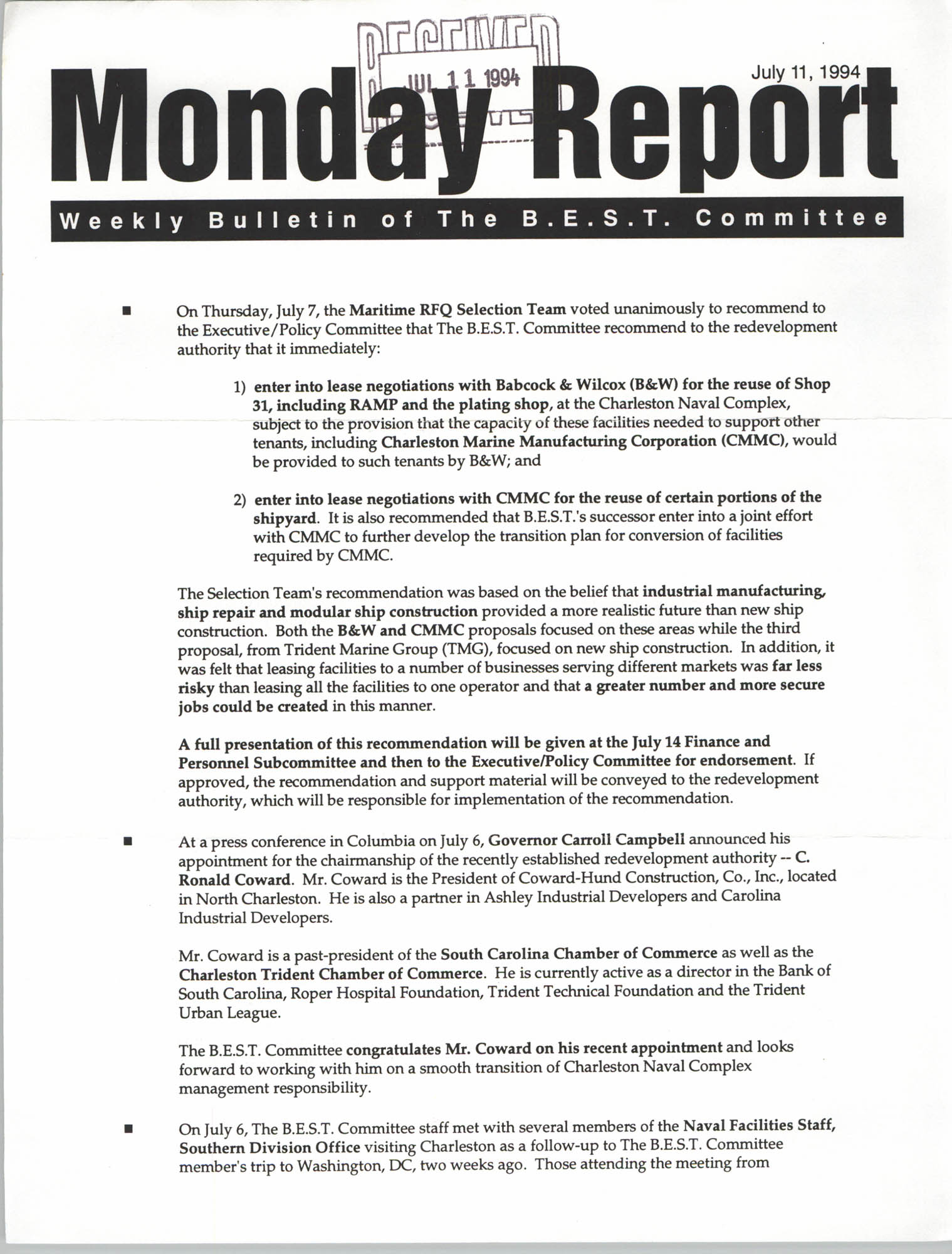 Monday Report, Weekly Bulletin of The B.E.S.T. Committee, July 11, 1994