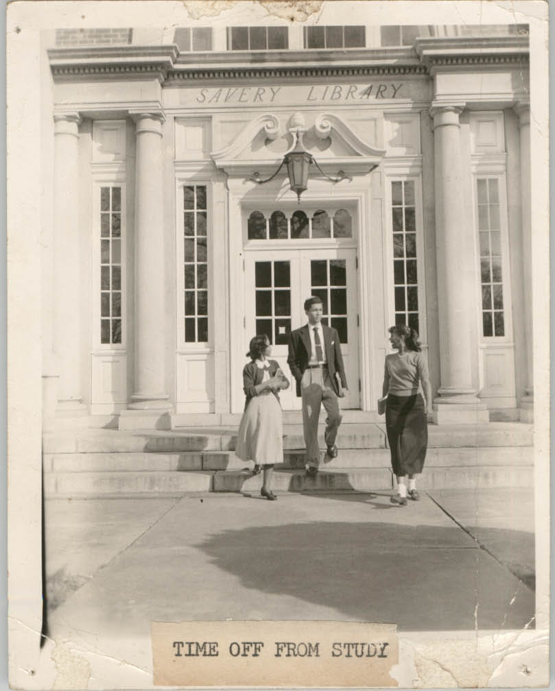 Photograph of People Outside of the Talladega College Library