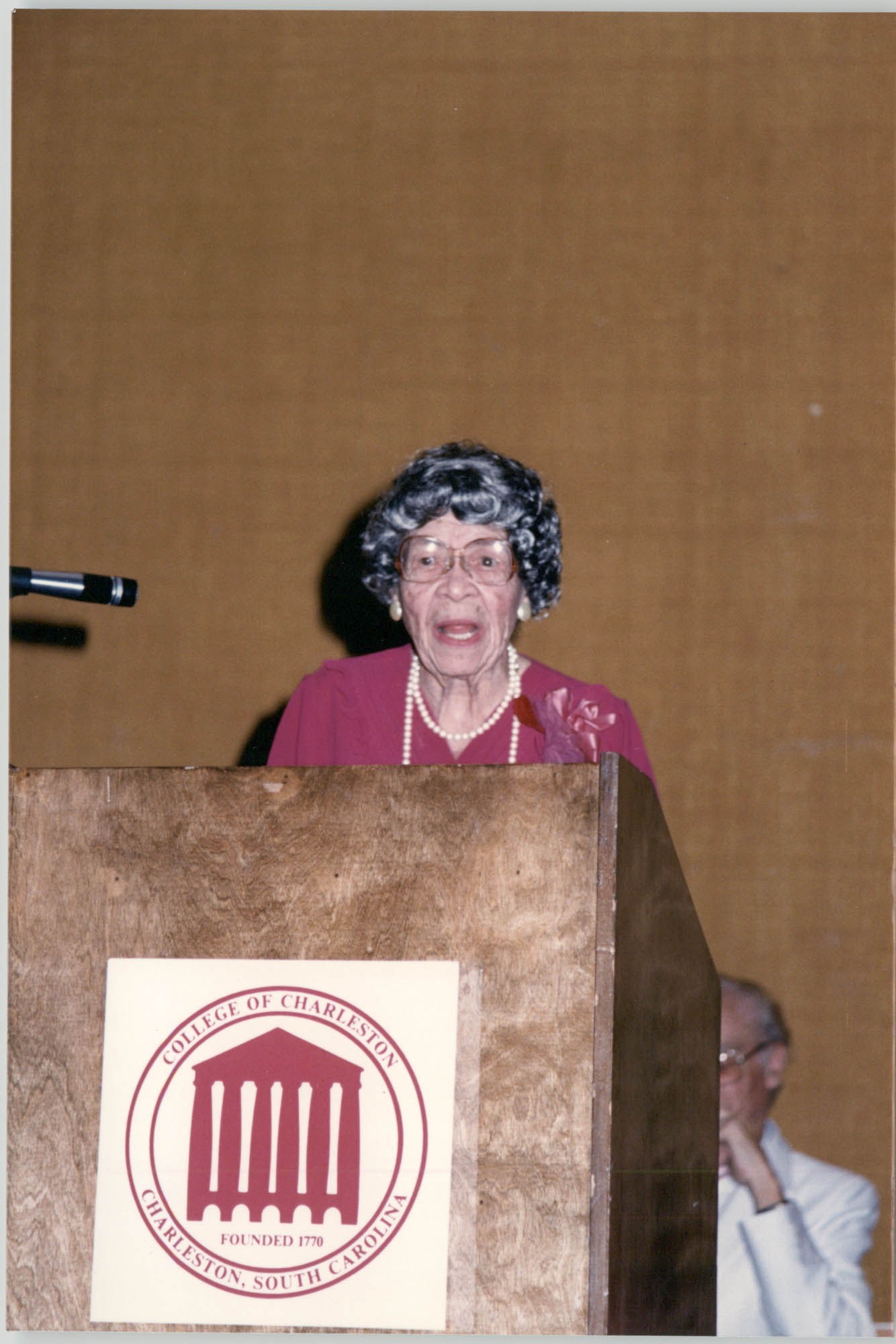 Photograph of Eva Hunt Hopkins at a College of Charleston Event