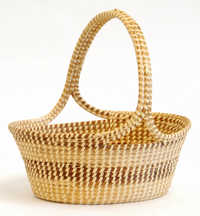 Left-handed sweetgrass fruit basket