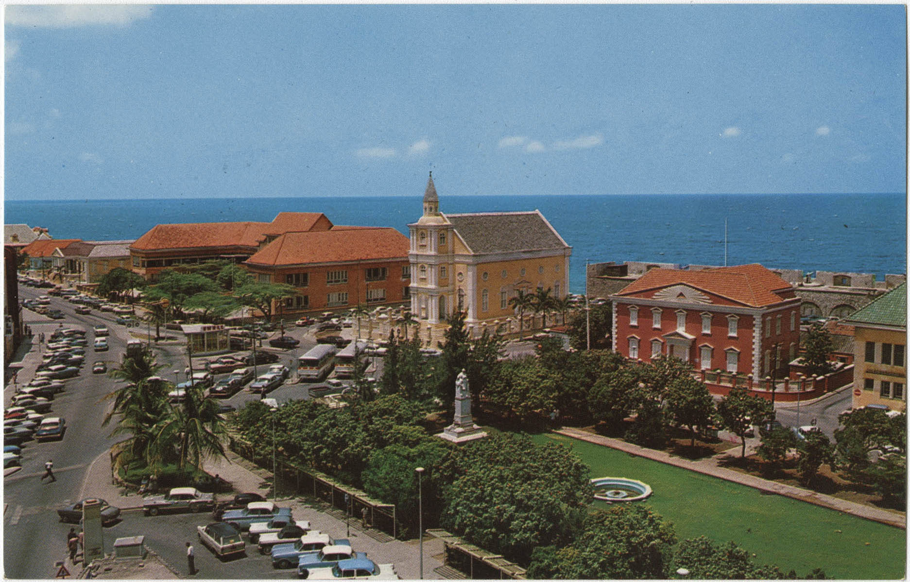 Curacao, Netherlands Antilles. Bird's eye view of Wilhelmina Park with statue of the late Queen Wilhelmina of the Netherlands and 100-year-old Jewish Reform Temple Emanuel in background.