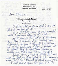 Letter from James Arthur, March 25, 1977