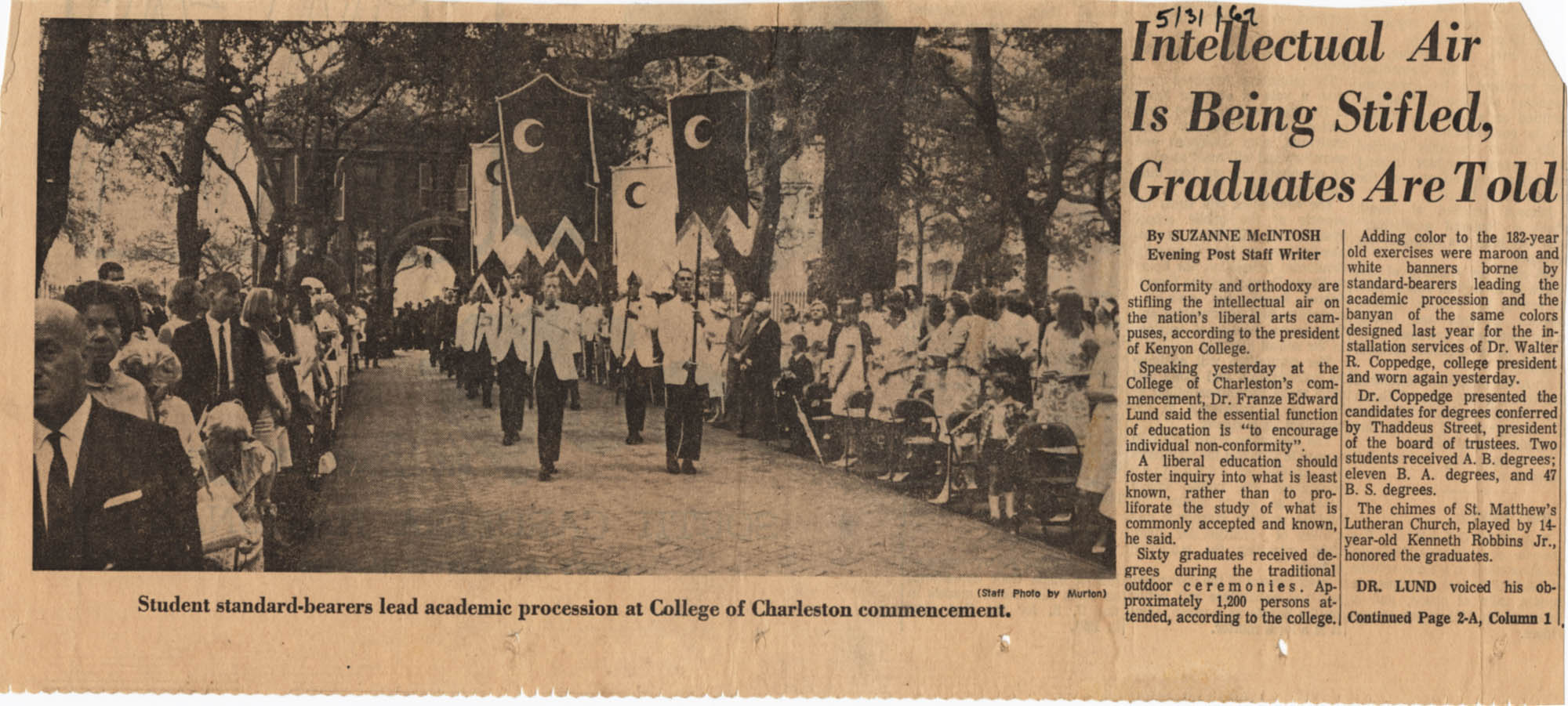 Clipping about 1967 commencement