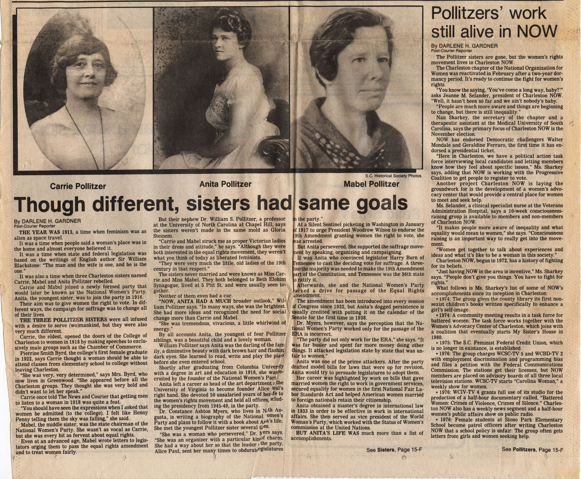 Newspaper article on Pollitzer sisters