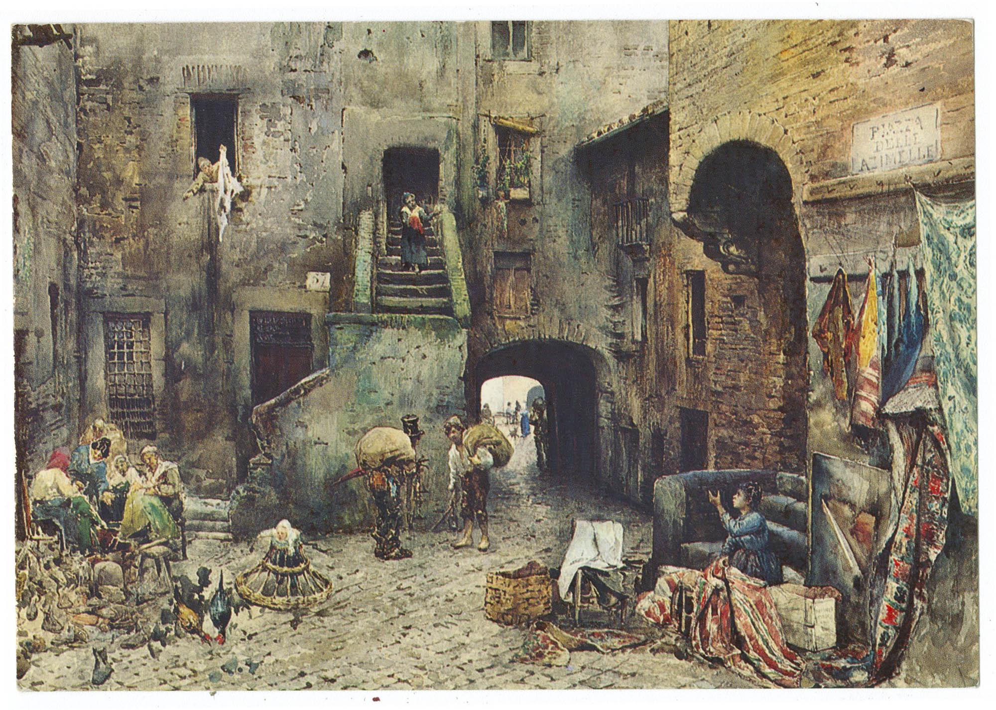 Roma Sparita di E. Roesler Franz (1845-1907). Piazza Delle Azimelle in Ghetto.