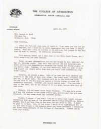 Letter from Willard Silcox, April 11, 1972