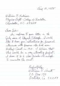Letter from William V. Arnett