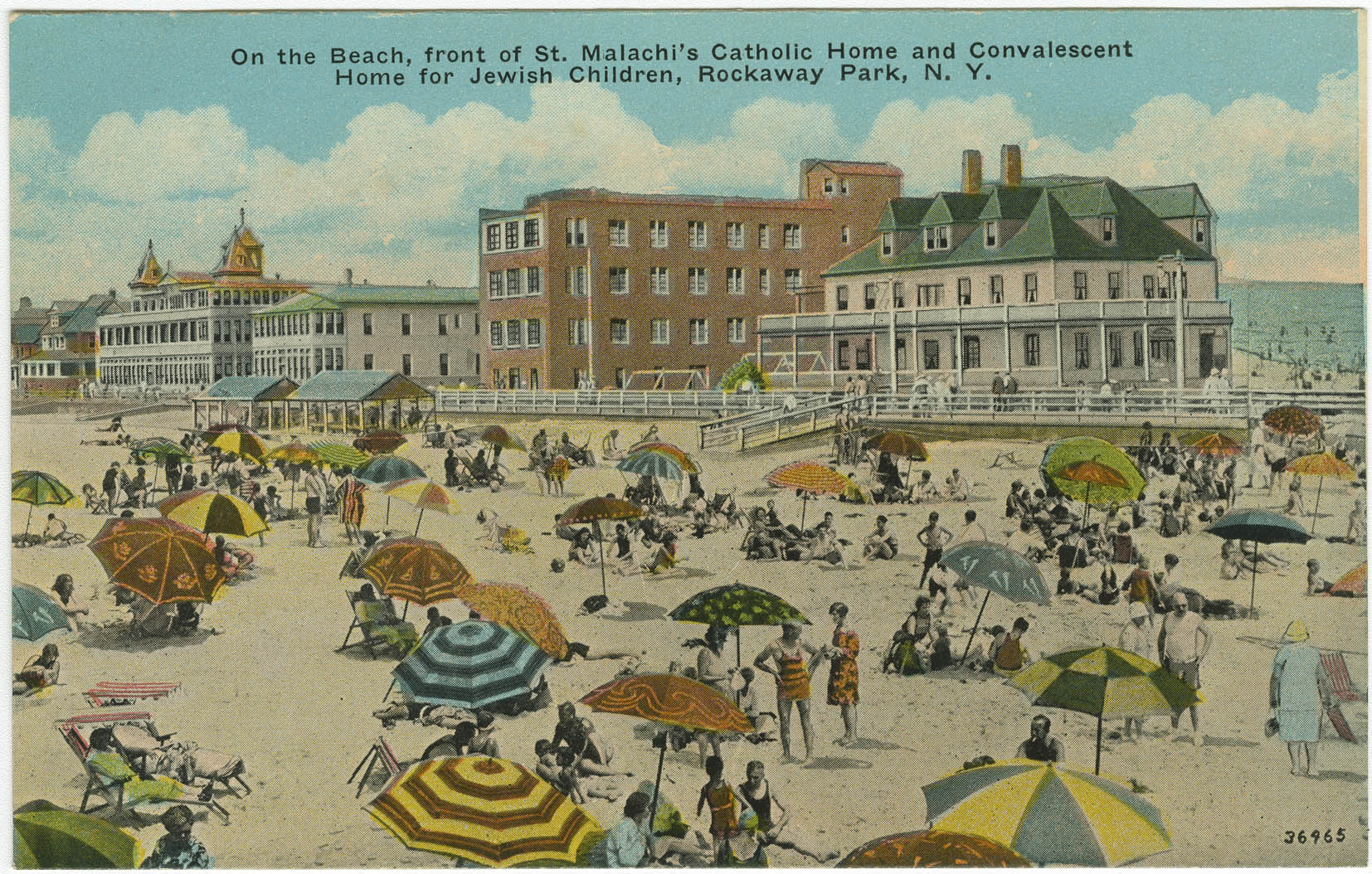 On the beach, front of St. Malachi's Catholic Home and Convalescent Home for Jewish Children, Rockaway Park, N.Y.