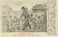 Der Gang in Chaider. / Belfer prowadzący dzieci do chajderu.