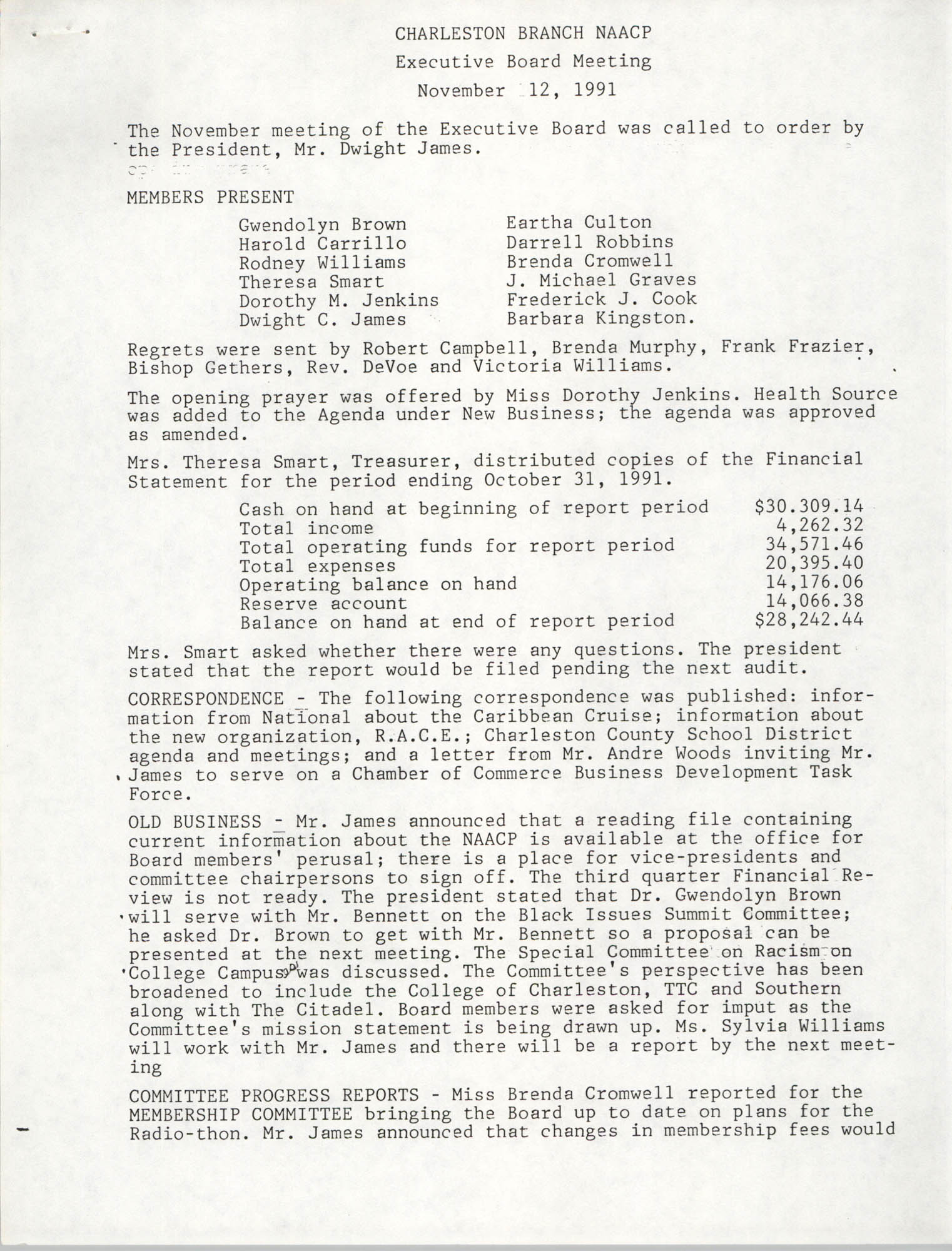 Minutes, Charleston Branch of the NAACP Executive Board Meeting, November 12, 1991