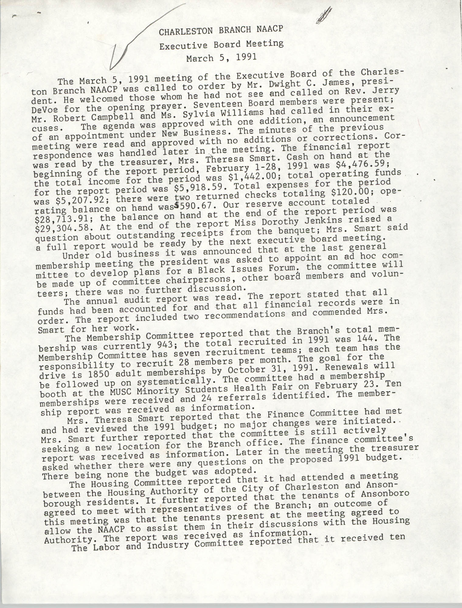 Minutes, Version 1, Charleston Branch of the NAACP Executive Board Meeting, March 5, 1991