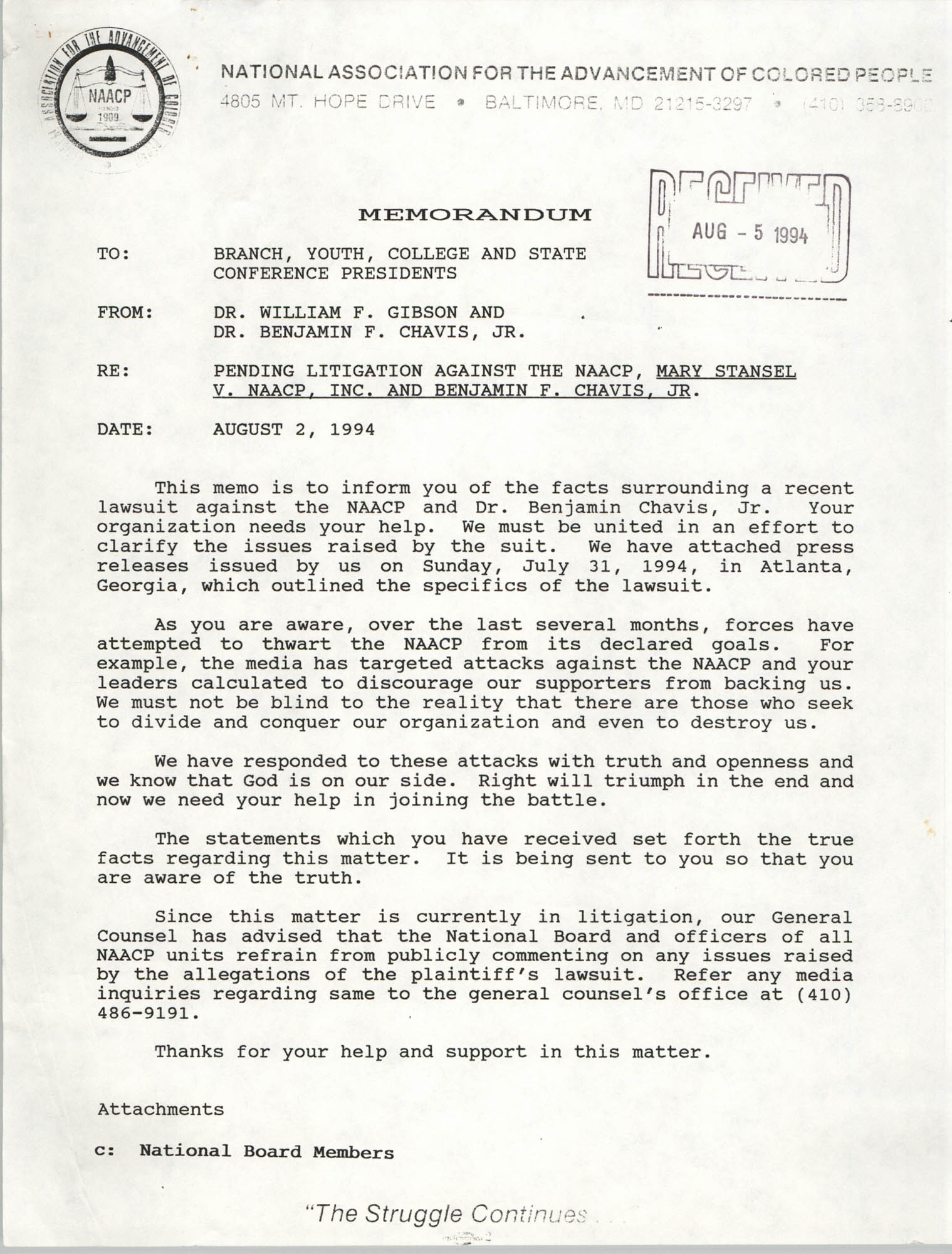 NAACP Memorandum, August 2, 1994