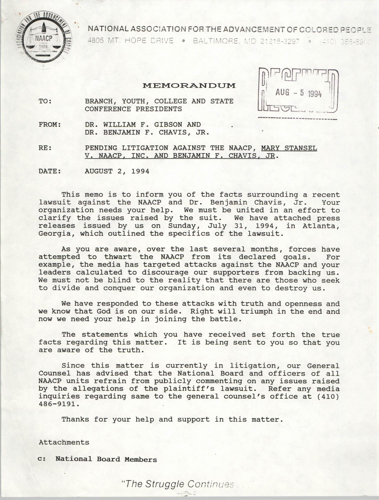 NAACP Memorandum, August 2, 1994
