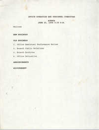 Agenda, Charleston Branch of the NAACP Office Operation and Personnel Committee, June 23, 1994