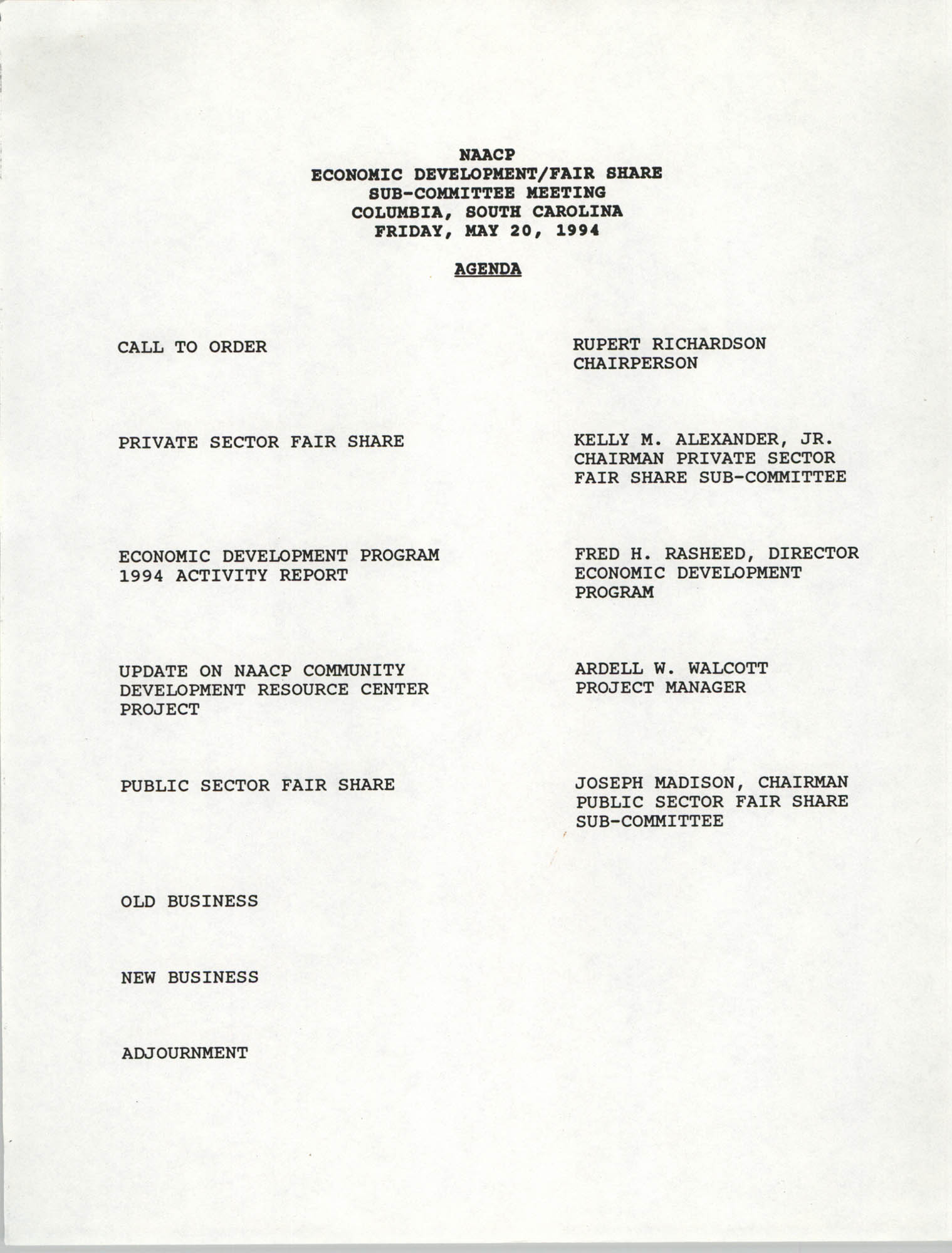 NAACP Economic Development/Fair Share Sub-Committee Meeting Agenda, May 20, 1994