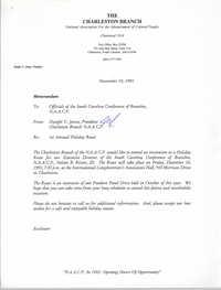 Charleston Branch of the NAACP Memorandum, November 19, 1993