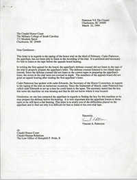 Letter from Vincent A. Patterson to Citadel Honor Court, March 22, 1994