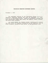 Charleston Branch of the NAACP Education Committee Minutes, November 1, 1990