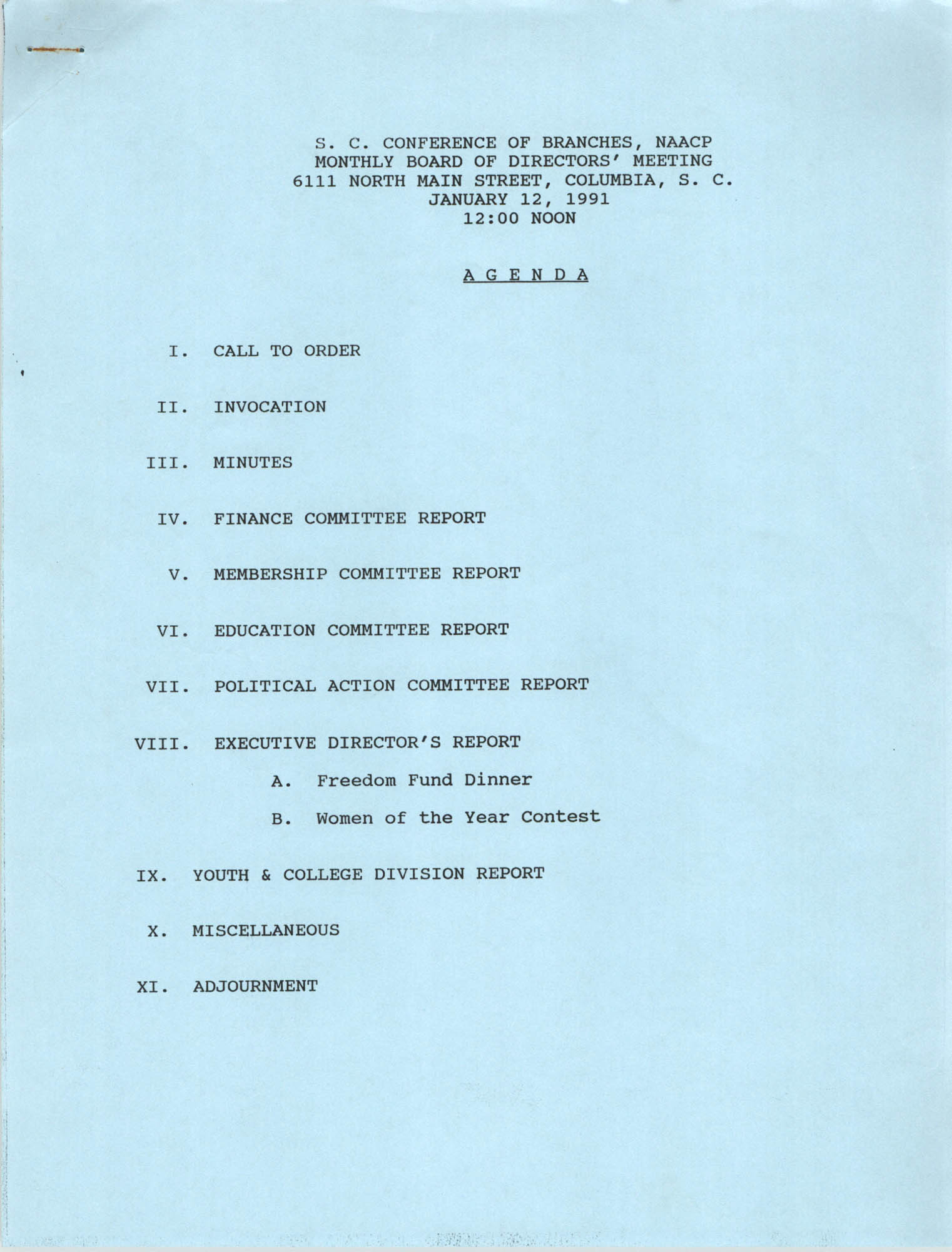 Agenda, South Carolina Conference of Branches of the NAACP, January 12, 1991