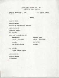 Agenda, Charleston Branch of the NAACP, Executive Board Meeting, February 5, 1991