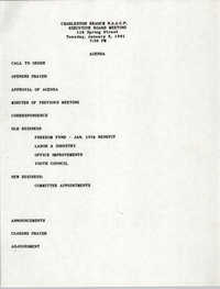 Agenda, Charleston Branch of the NAACP, Executive Board Meeting, January 8, 1991