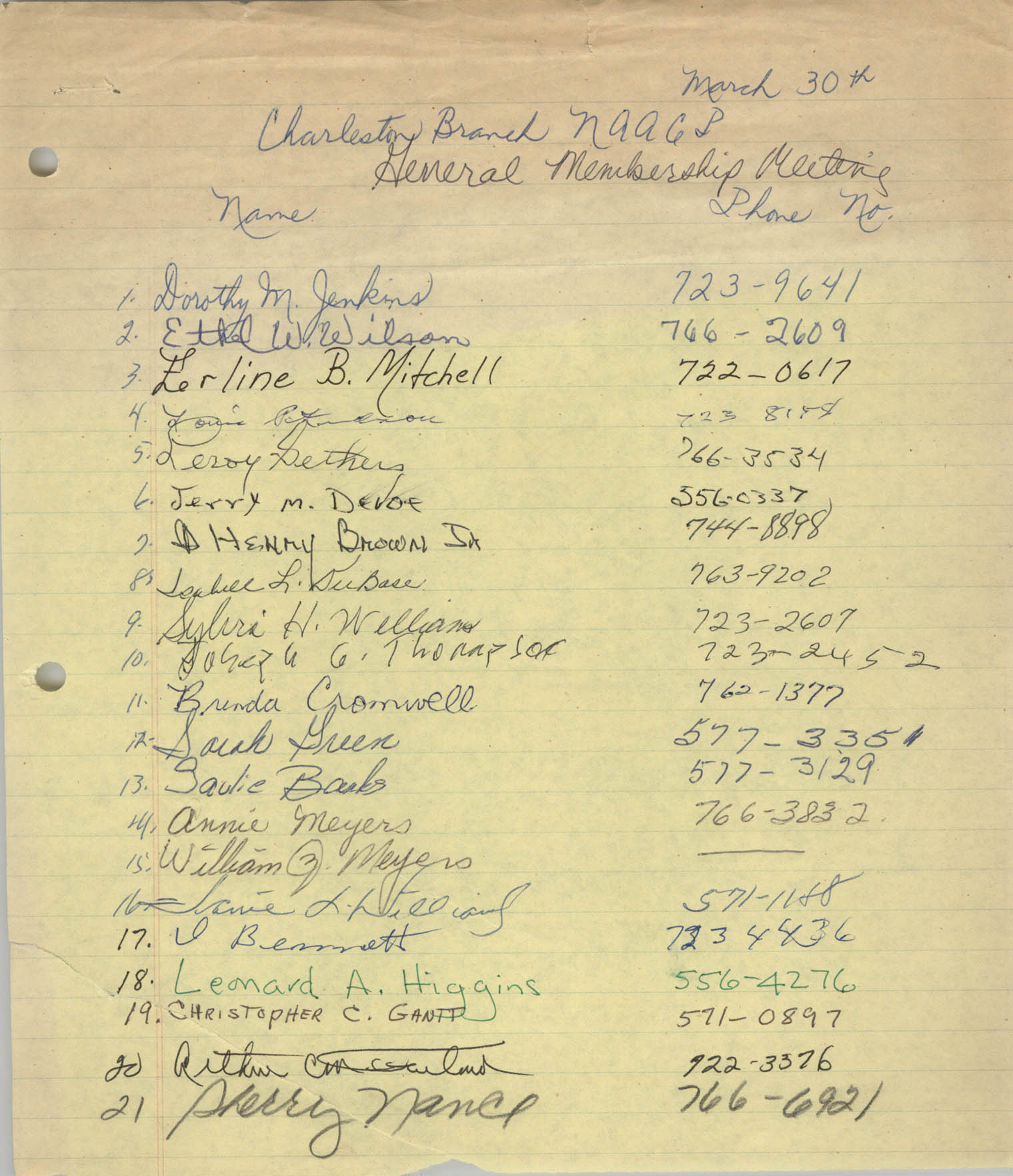 Sign-in Sheet, Charleston Branch of the NAACP, General Membership Meeting, March 30, 1989