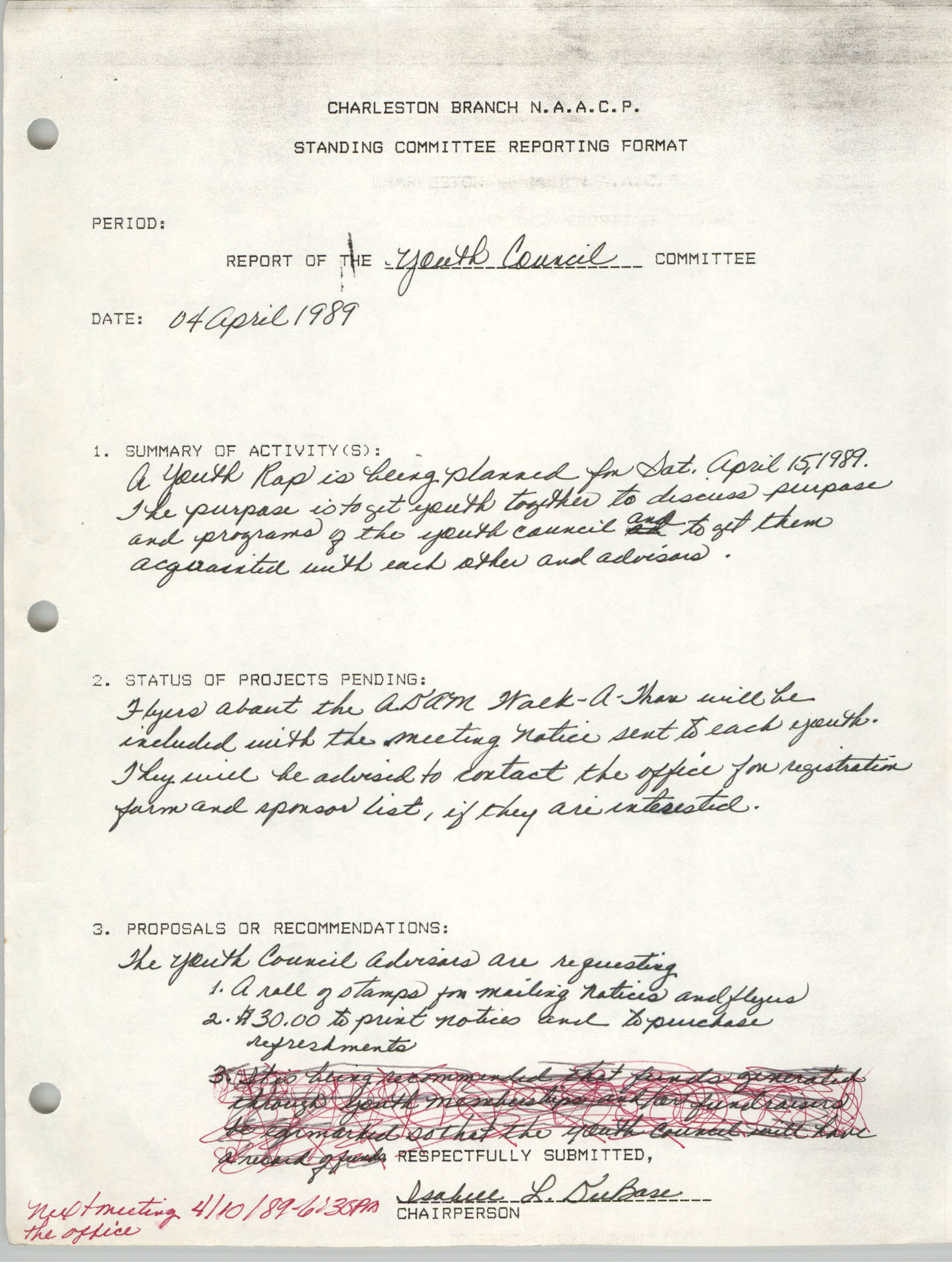 Standing Committee Reporting Format, Youth Council, Charleston Branch of the NAACP, April 4, 1989