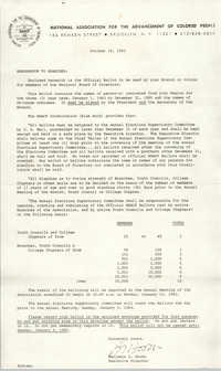 NAACP Memorandum, October 18, 1982