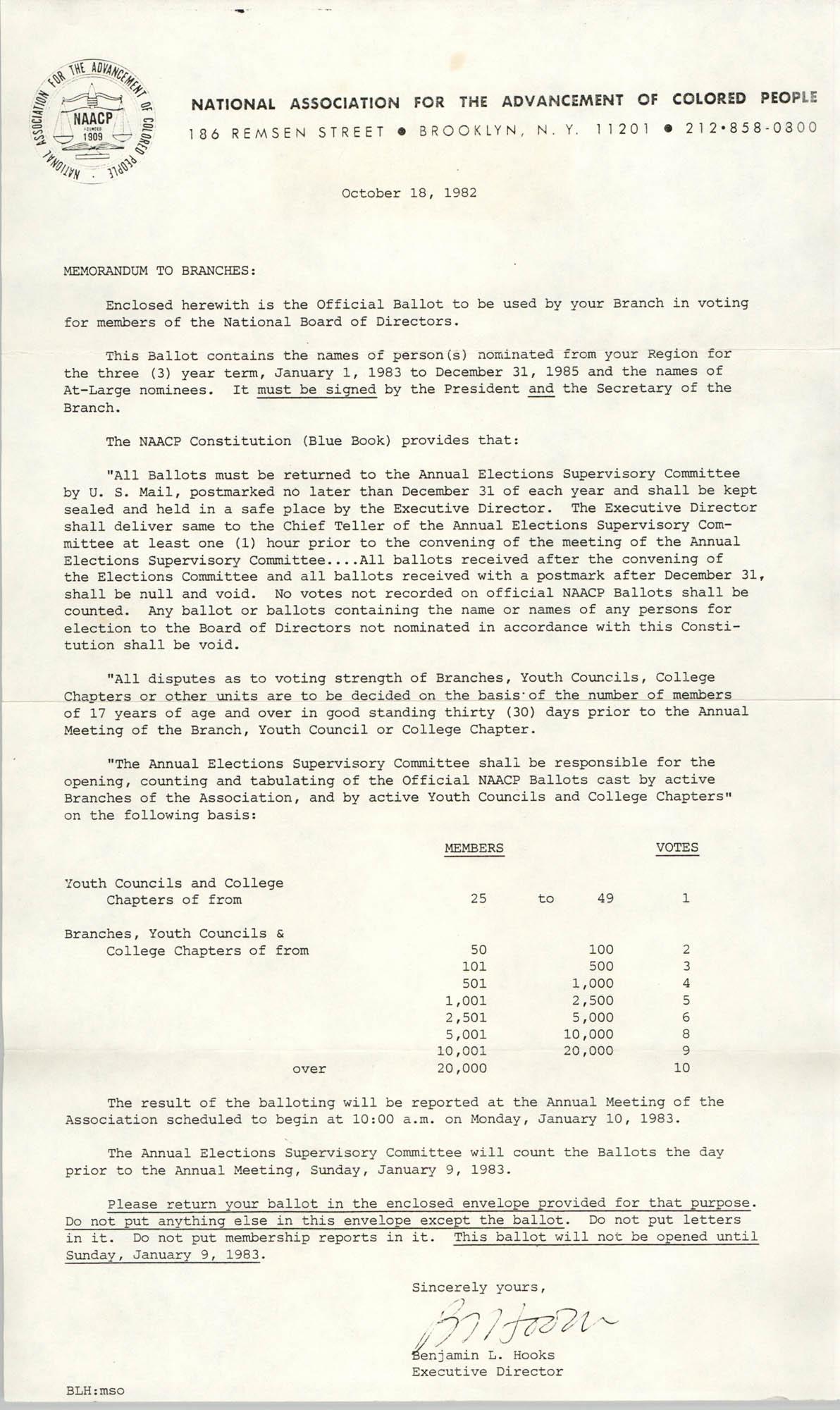 NAACP Memorandum, October 18, 1982