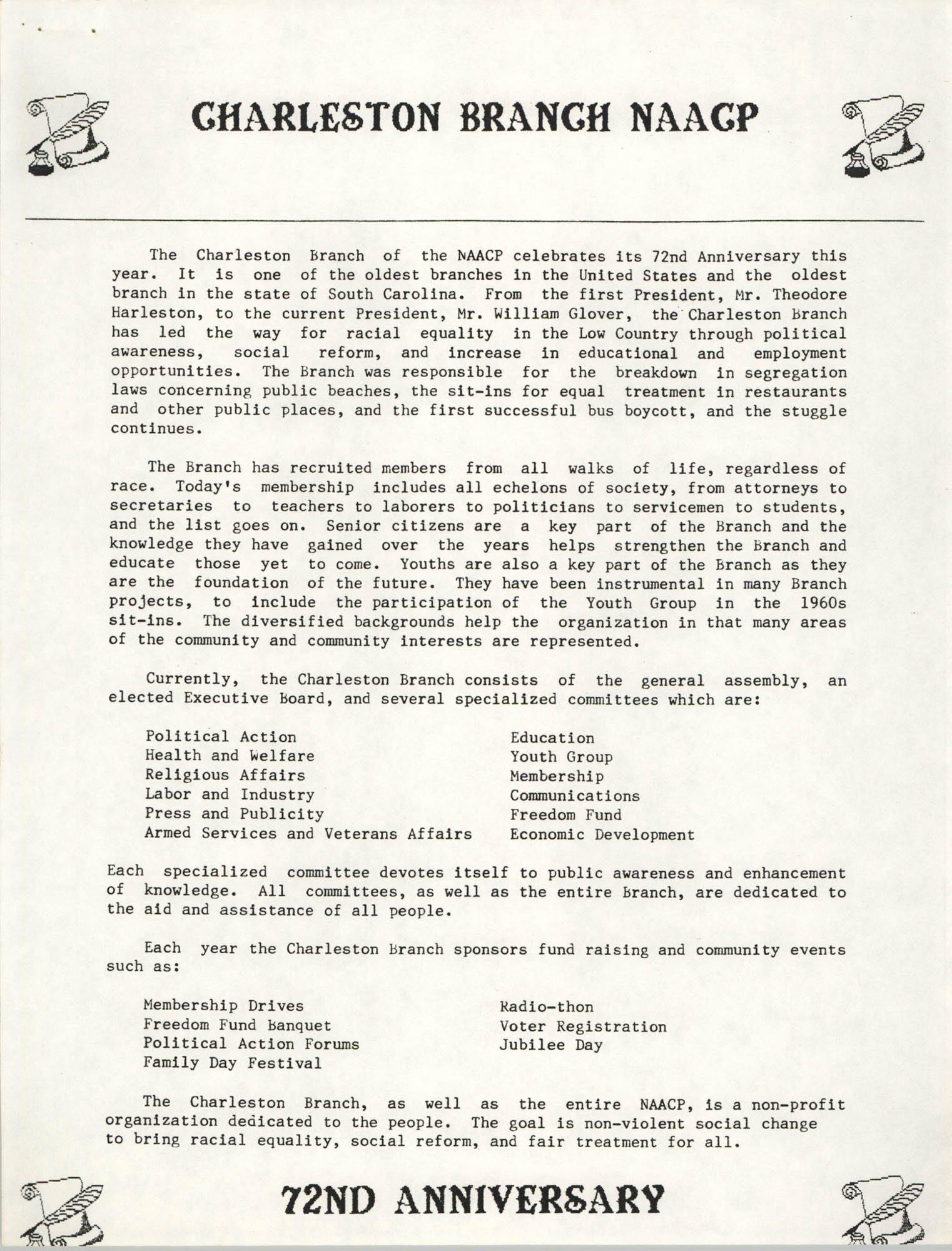 72nd Anniversary of the Charleston Branch of the NAACP Fundraising Document