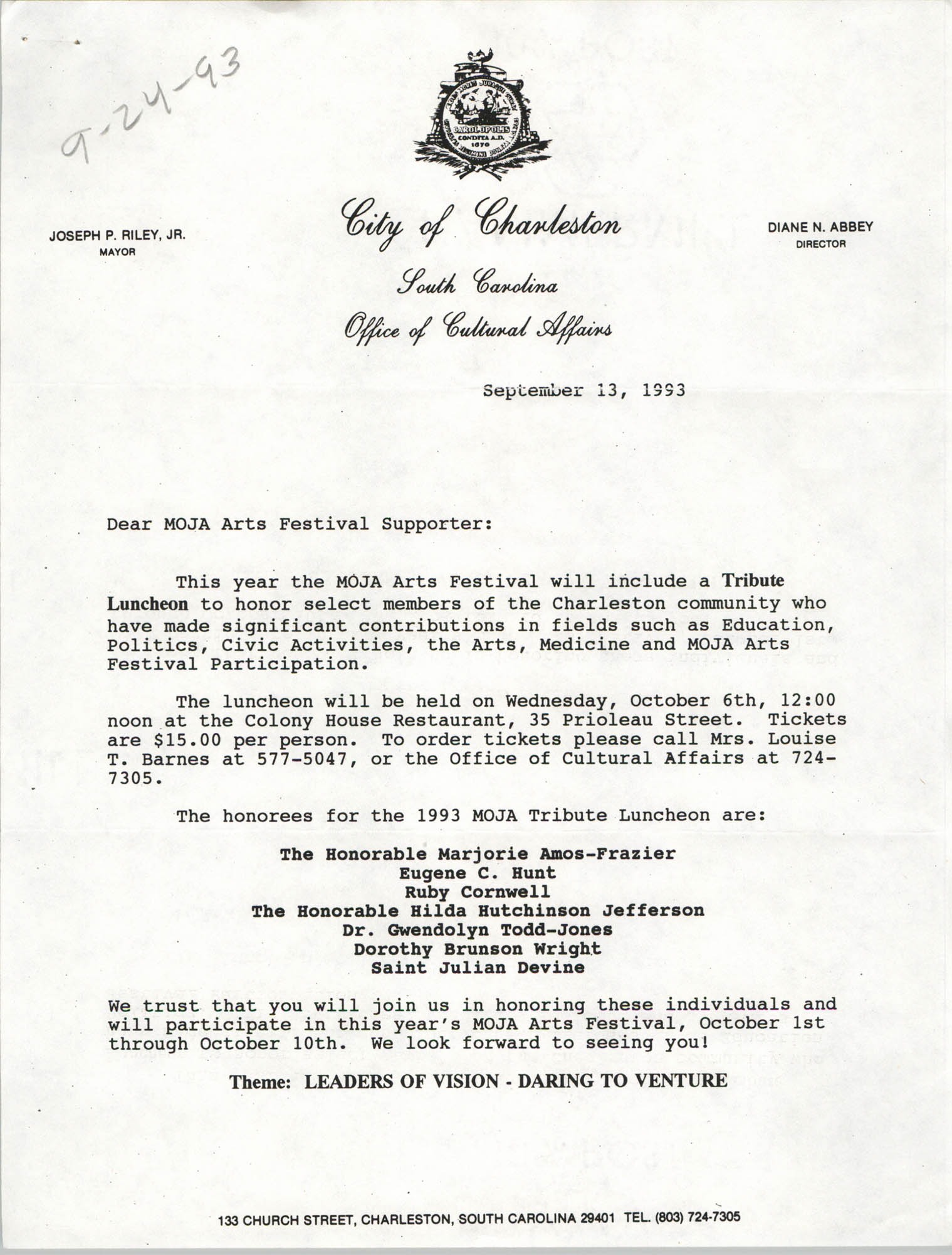 MOJA Arts Festival, Tribute Luncheon Invitation, September 13, 1993