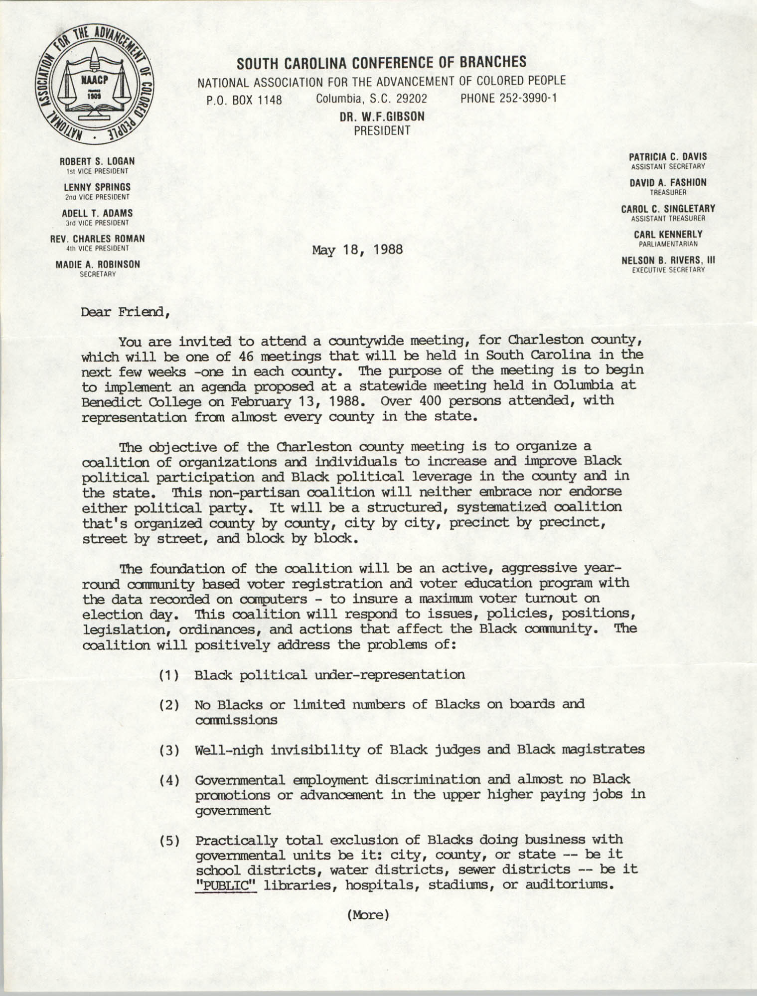South Carolina Conference of Branches of the NAACP Memorandum, May 18, 1988