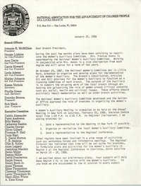 Opa-Locka Branch of the NAACP Memorandum, January 25, 1988