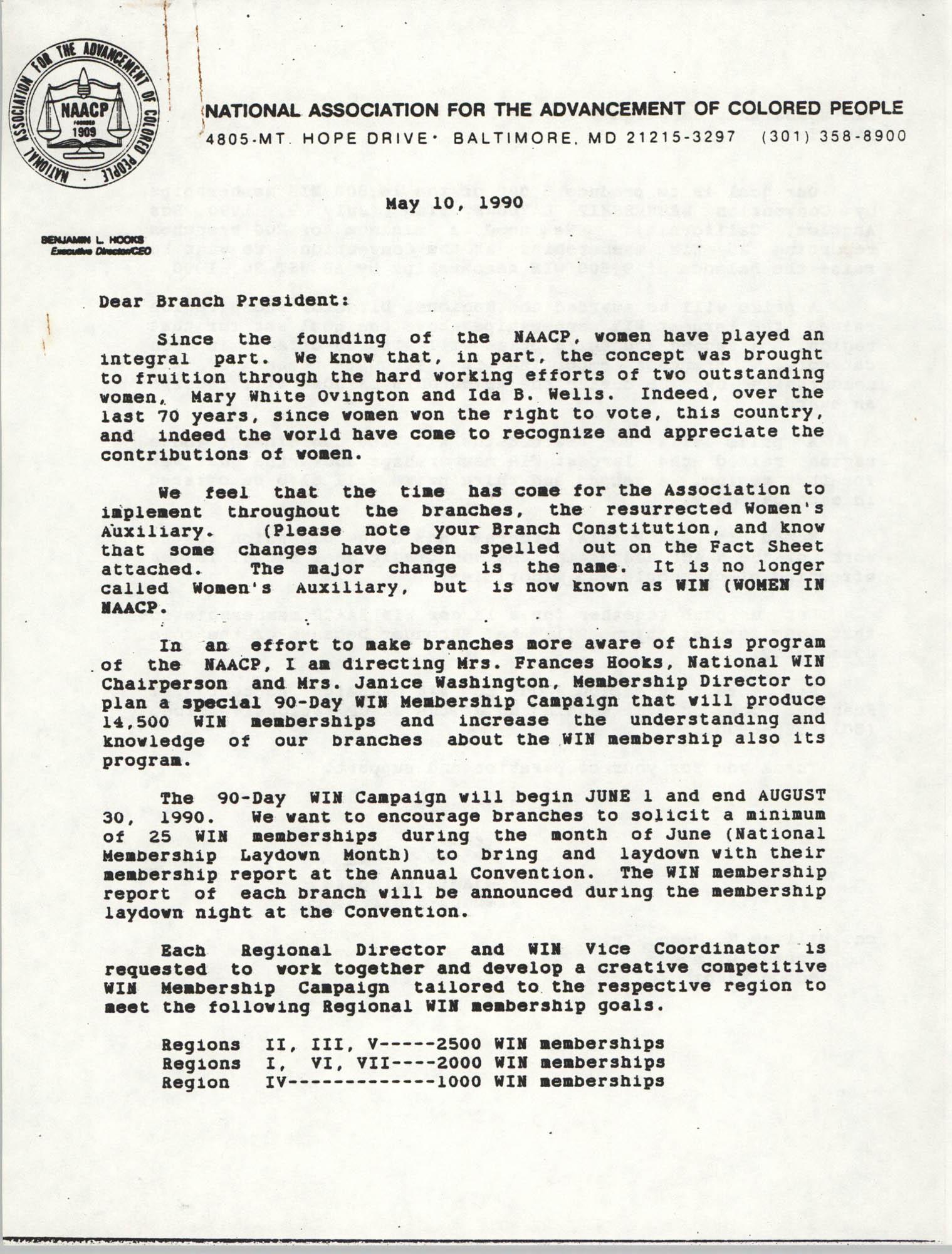 NAACP Memorandum, May 10, 1990