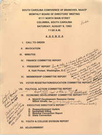 Agenda, South Carolina Conference of Branches of the NAACP, August 8, 1992