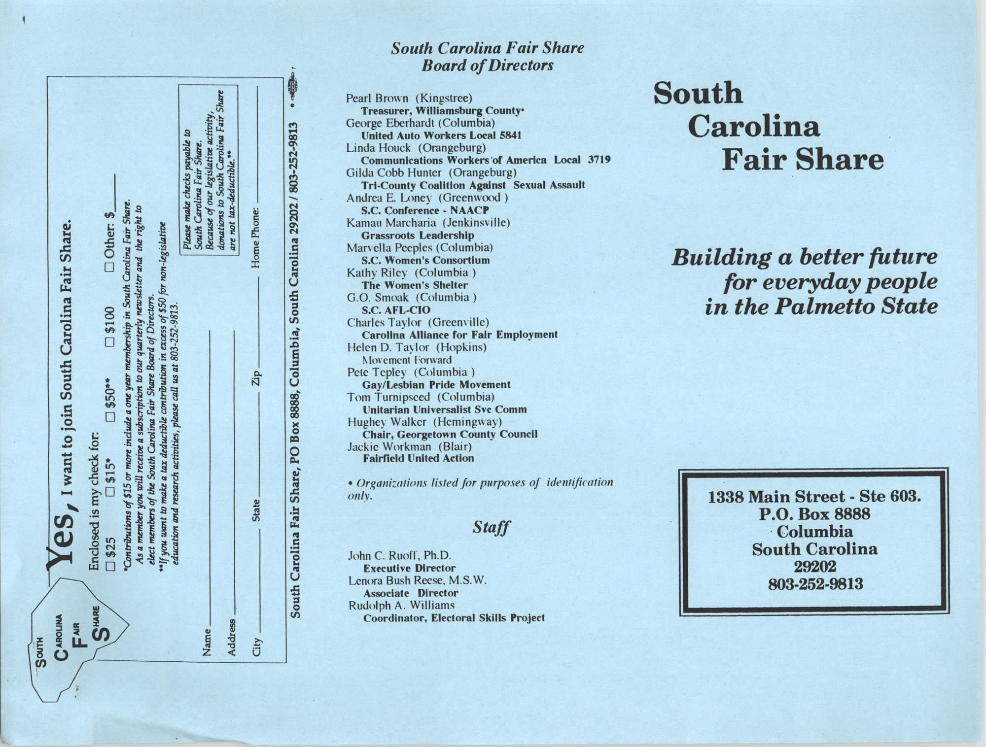 South Carolina Fair Share Pamphlet