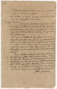 John Gordon's Petition Letter to the St. Andrew's Society