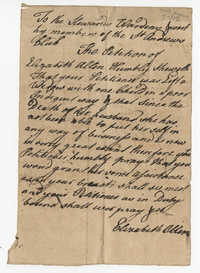 Elizabeth Allen's Petition Letter to the St. Andrew's Society