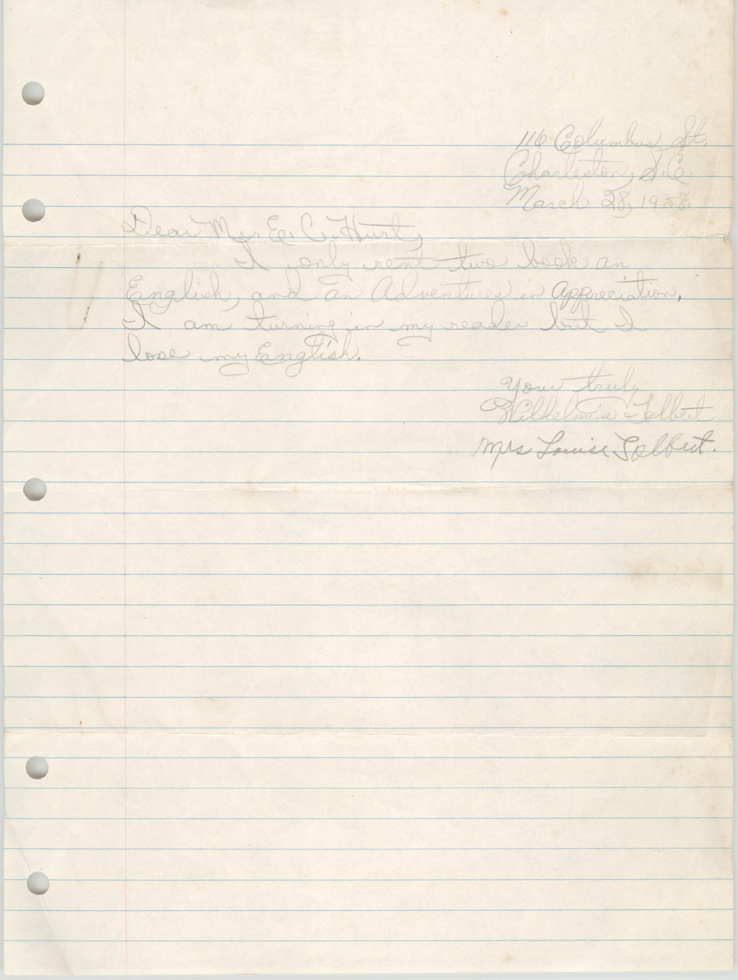Letter from Wilhelmia Tolbert and Louise Tolbert to Eugene C. Hunt, March 28, 1958