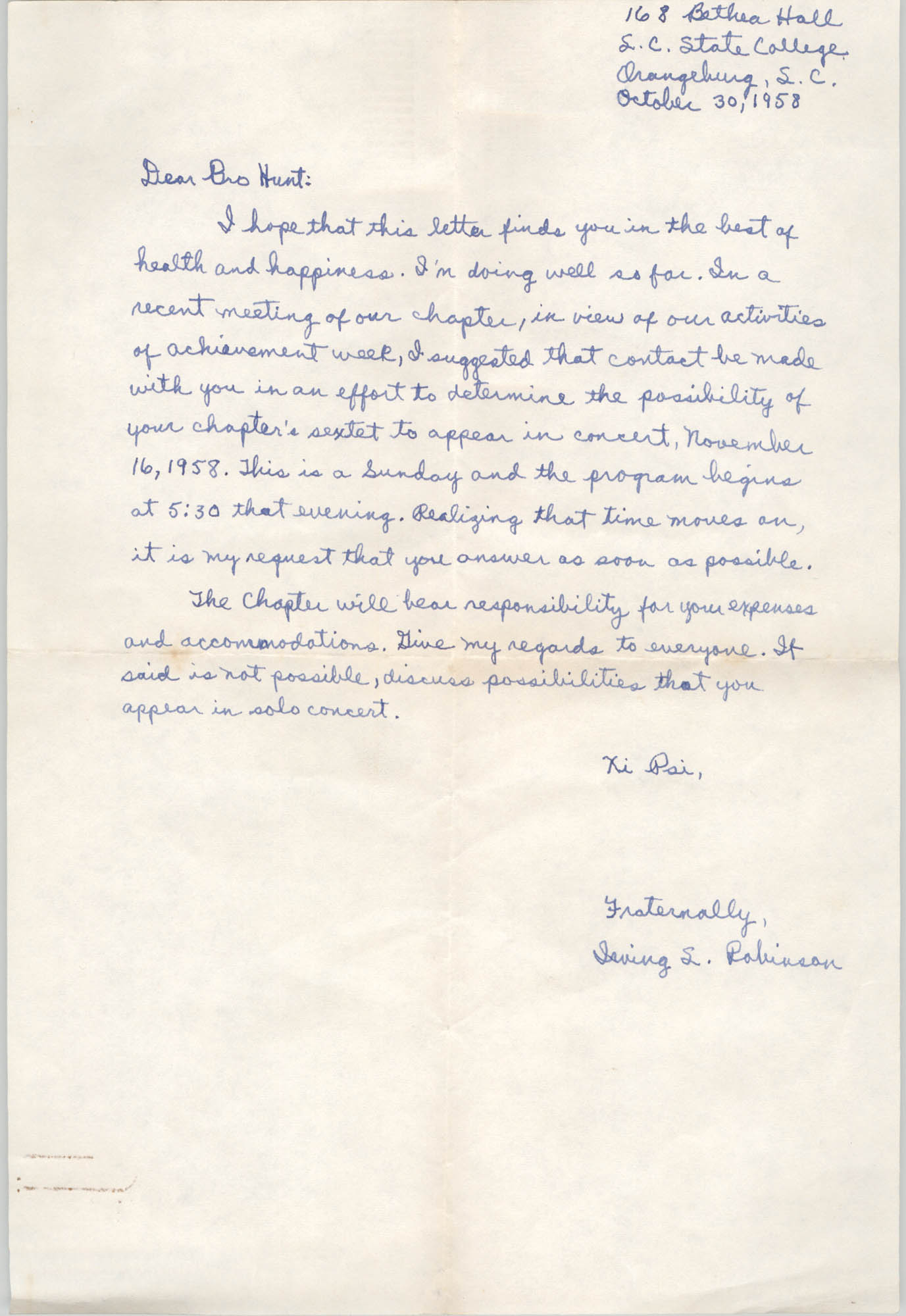 Letter from Irving L. Robinson to Eugene C. Hunt, October 30, 1958