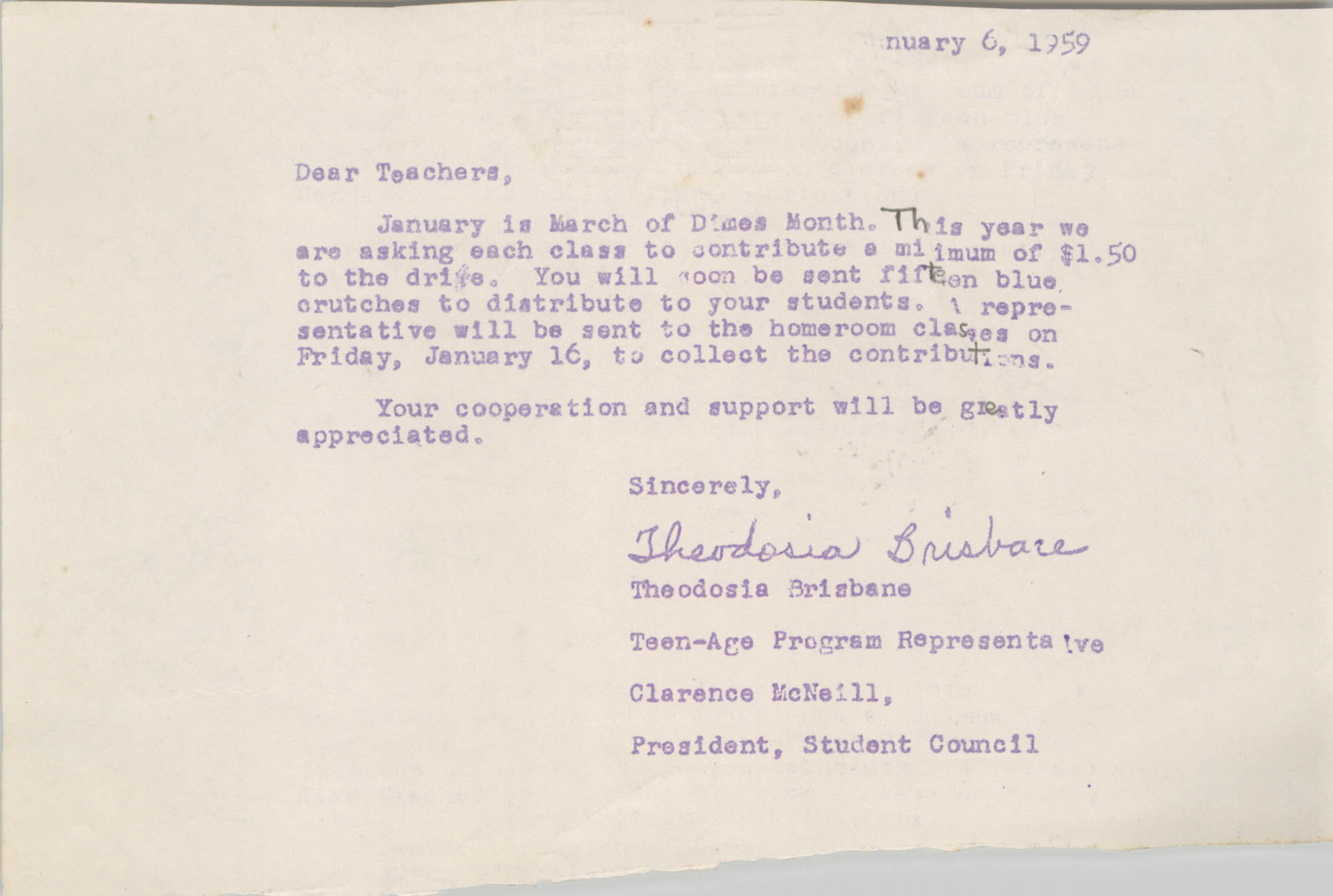 Message from Theodosia Brisbane to Burke High School Teachers, January 6, 1959