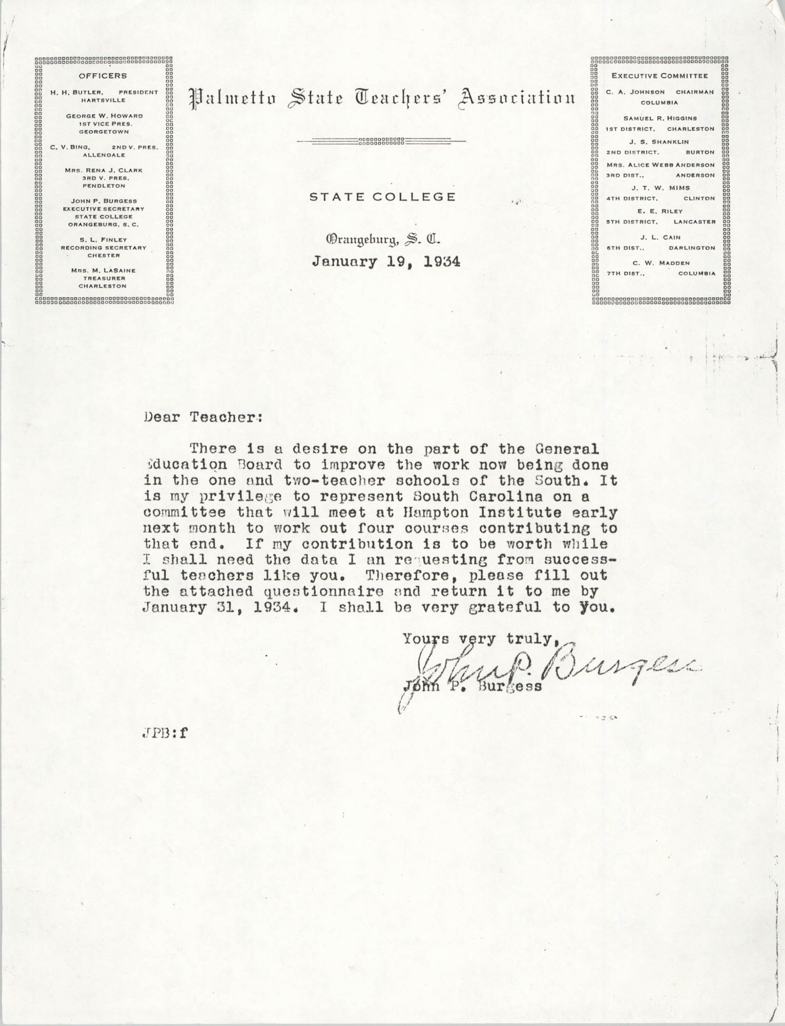 Letter from John P. Burgess, January 19, 1934