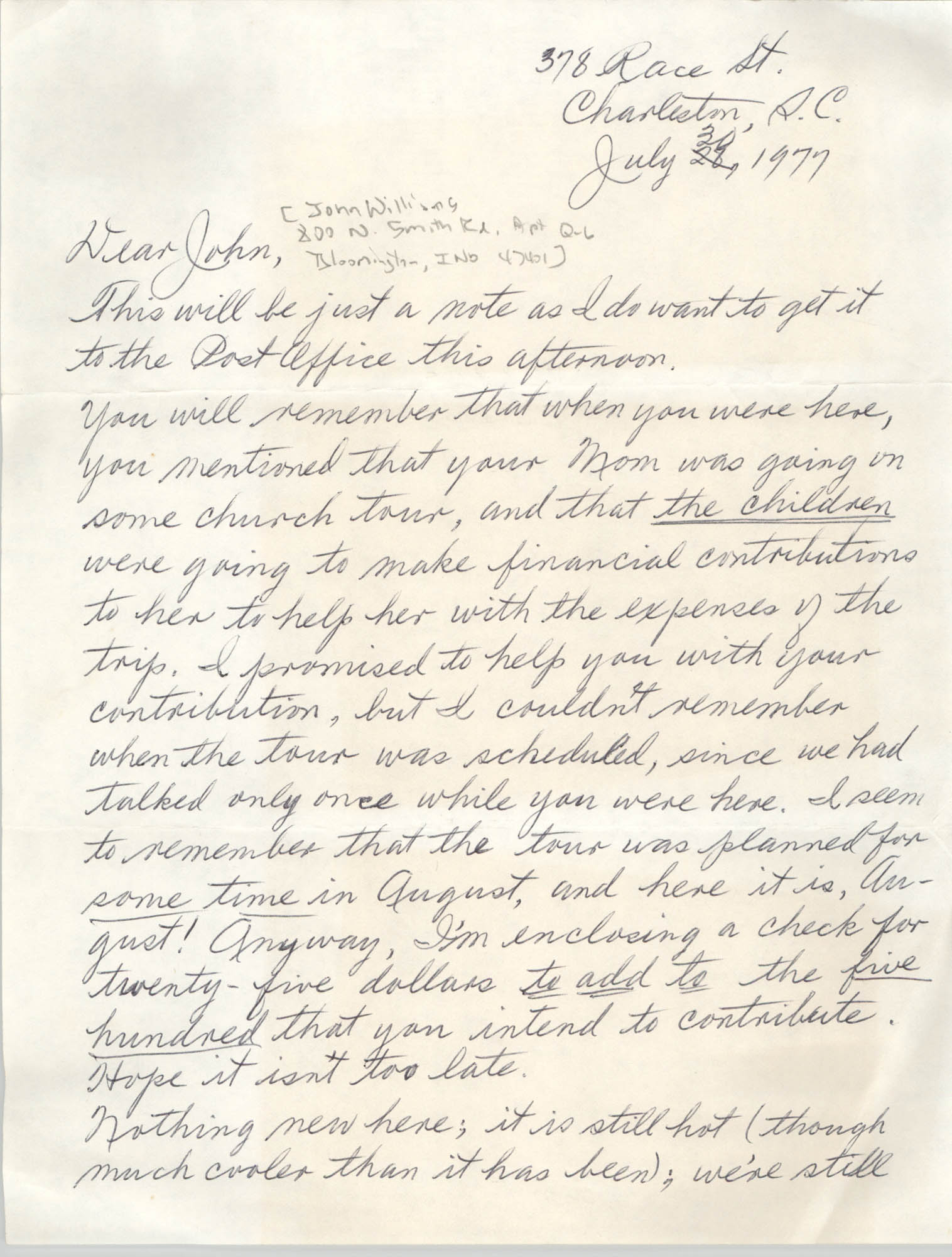 Letter from Eugene C. Hunt to John Williams, July 30, 1977