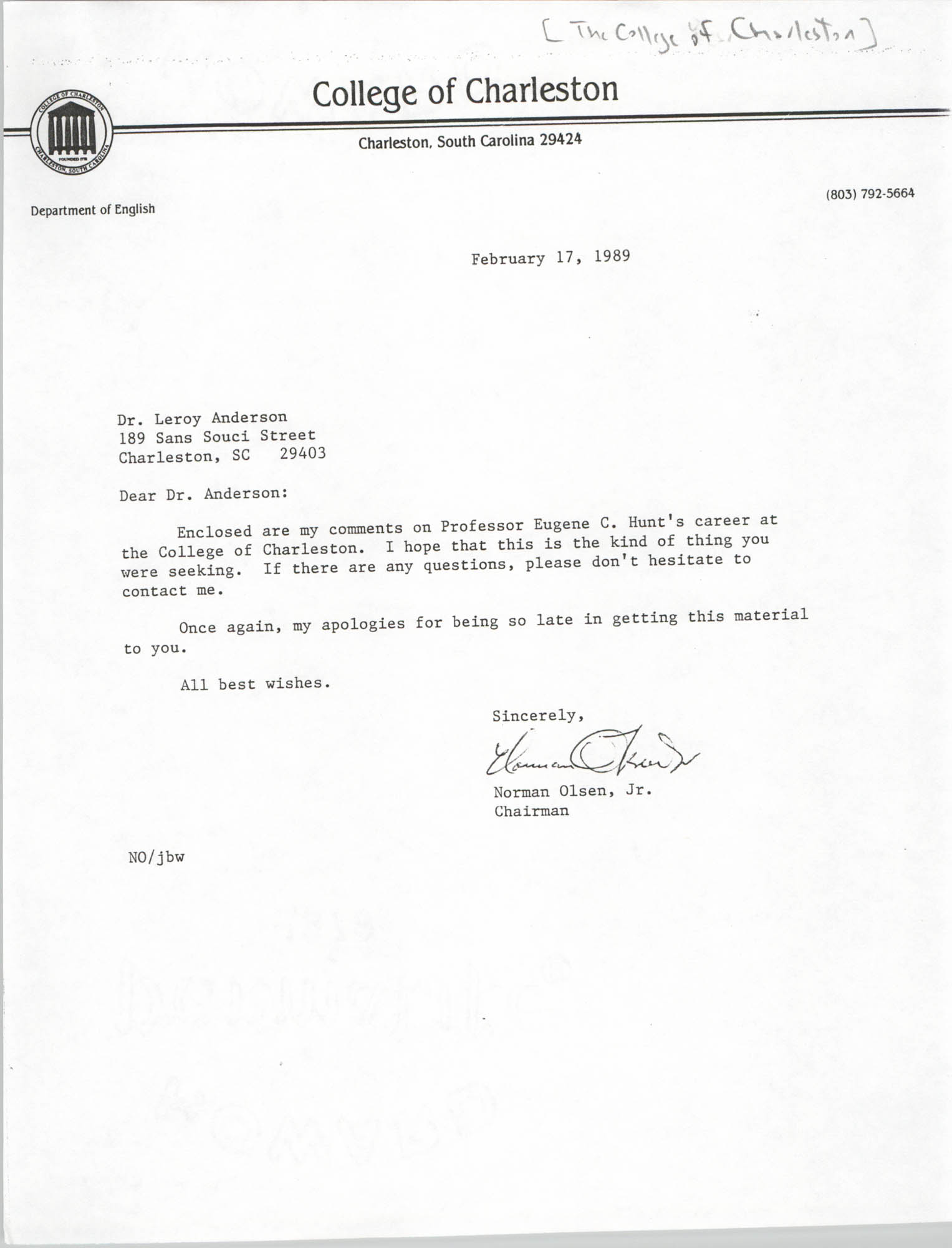 Letter from Norman Olsen, Jr. to Leroy Anderson, February 17, 1989