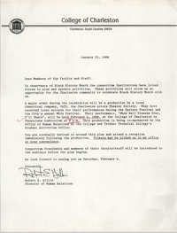 Correspondence from Robert E. Gillis to Members of the College of Charleston Faculty and Staff, January 25, 1988