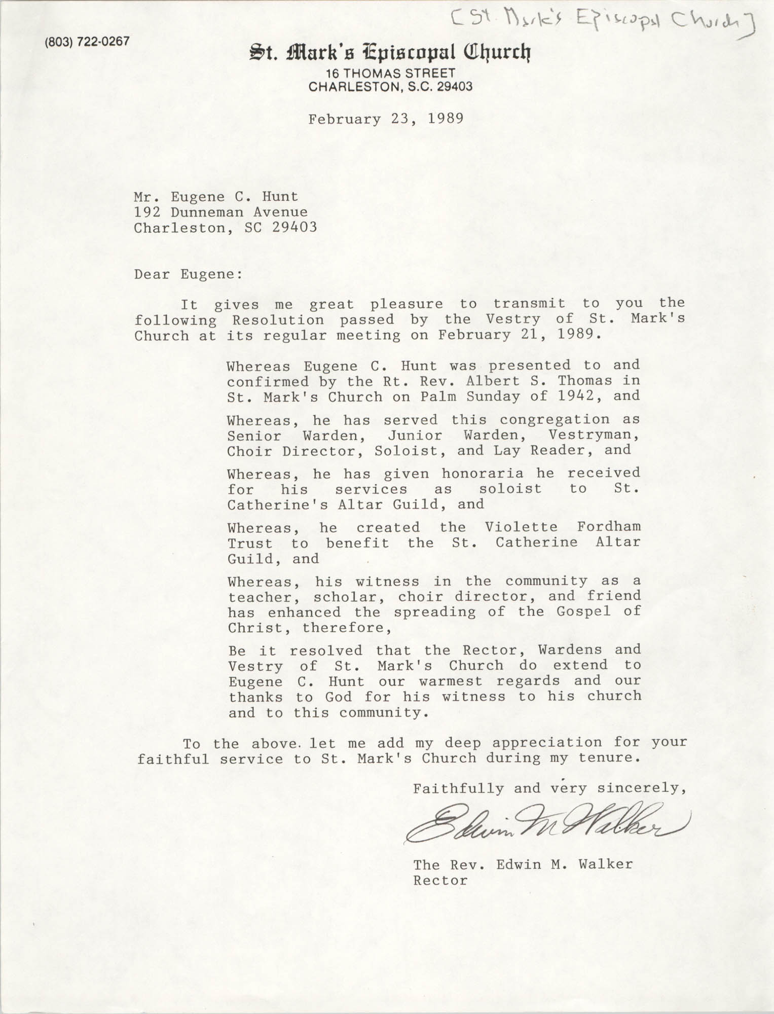 Letter from Edwin M. Walker to Eugene C. Hunt, February 23, 1989